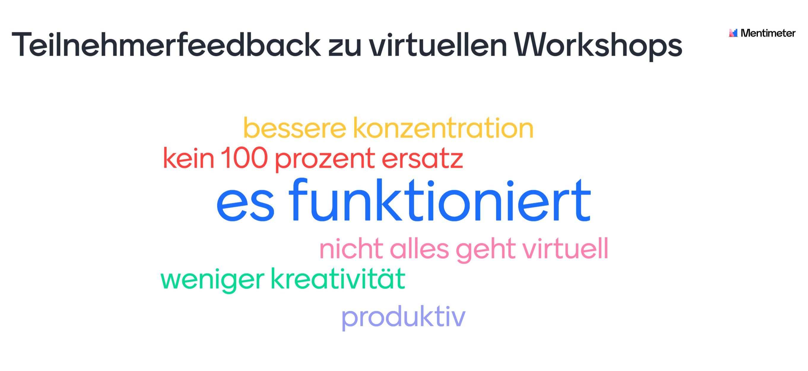 Feedback zu virtuellen Workshops
